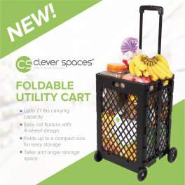 NEW! Clever Spaces Foldable Utilitiy Cart Trolley (Tall)