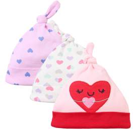 Lion Bear 3-pack Baby Beanie Hat with Knot - Girl Hearts