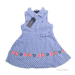Nautica Girl's Striped Sleeveless Collared Dress
