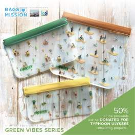NEW! Zippies Green Vibes: Bags with A Mission 3-piece Lay-flat Bags Sampler Set