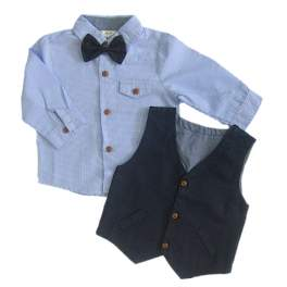 H&M Longsleeves Polo with Vest and Bowtie Set - Light Blue