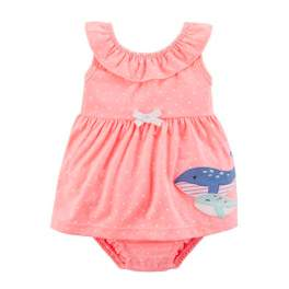Carter's Baby Girl Ruffle Sunsuit Dress - Whale 6m