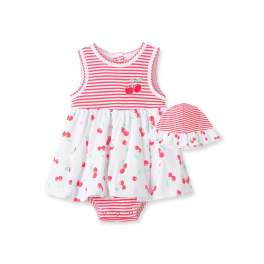 Little Me Baby Girl Sunsuit Dress with Hat - Cherries